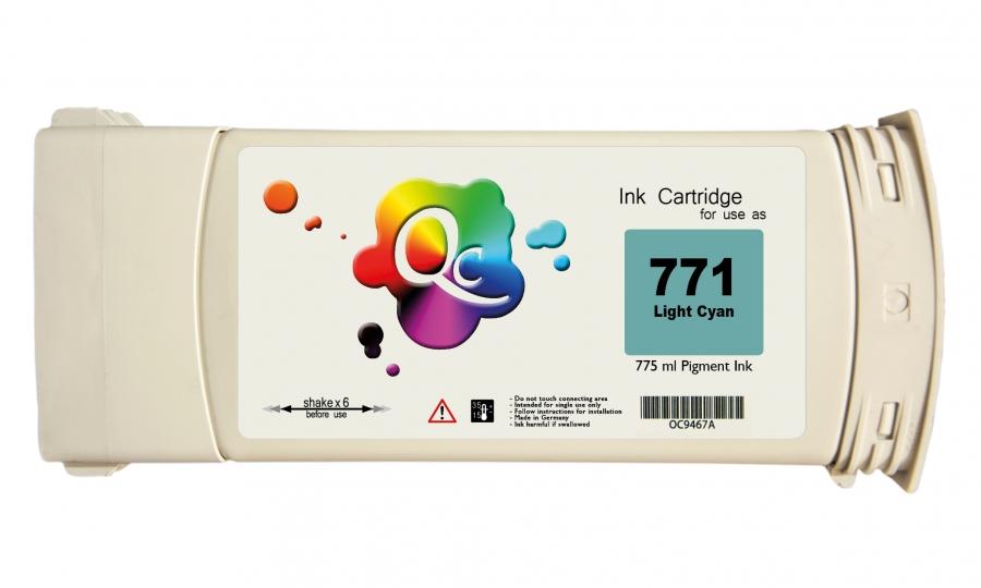 HP 771 CE041A Light Cyan Açık Mavi Plotter Pigment Muadil Mürekkep Kartuş 775ml