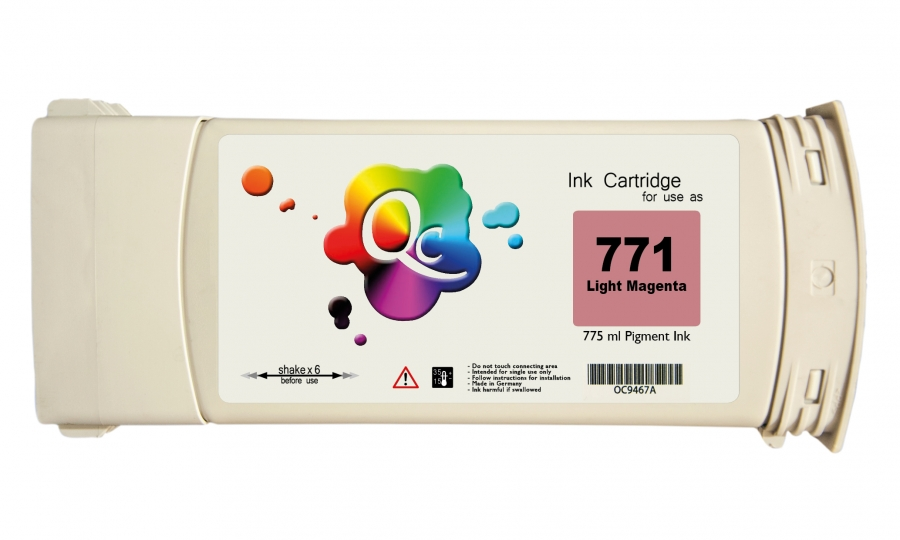 HP 771 CE042A Light Magenta Açık Kırmızı Plotter Pigment Muadil Mürekkep Kartuş 775ml