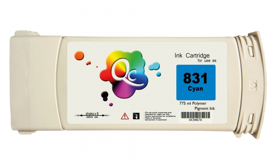 HP 831 CZ695A Cyan Mavi Lateks Muadil Kartuş 775 ml