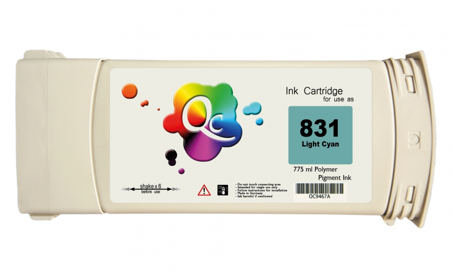 HP 831 CZ698A Light Cyan Açık Mavi Lateks Muadil Kartuş 775 ml