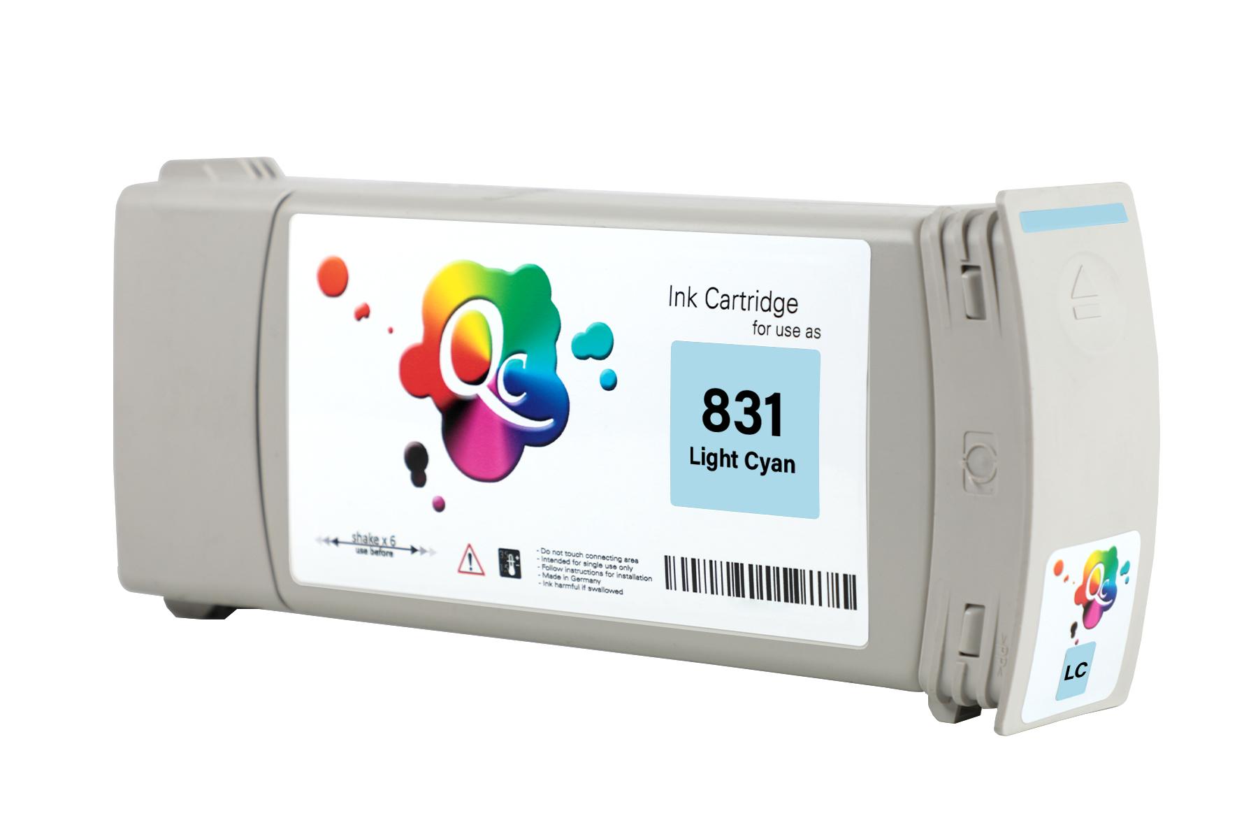 HP 831 CZ698A Light Cyan Açık Mavi Lateks Muadil Mürekkep Kartuş 775ml